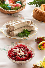 Easter breakfast - white sausage, beetroot and horseradish