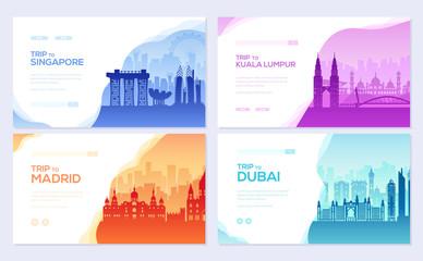 Travel information brochure card set. Landscape ?ountry Singapore, Kuala Lumpur, Madrid, Dubai of template of flyear, web banner, ui header, enter site. Layout invintation modern