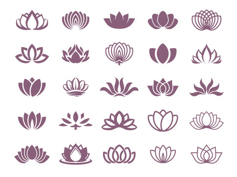 Vector illustration concept of a lotus logo. Icon on color background