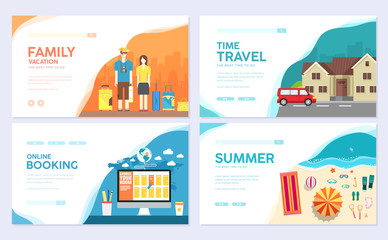 Tour of the world. Traditional travel  brochure card set. Summer vacation trip template of flyear, web banner, ui header, enter site. Layout invintation modern slider