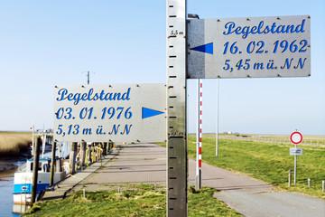 Sturmflut an der Nordseeküste, Pegelstand 1962 und 1976