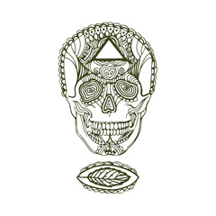 Vector Hand drawn sketch of scull illustration on white background
