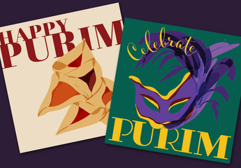 2 Purim Holiday Social Media Post Layouts