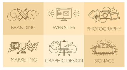 Obraz Creative design process concept with web studio development elements. Flat line icons modern style vector illustration set.  - fototapety do salonu