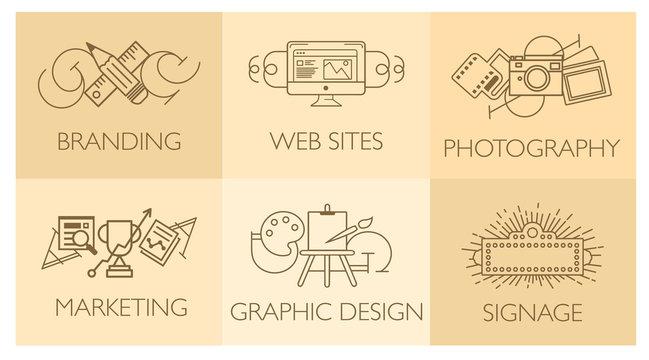 Creative design process concept with web studio development elements. Flat line icons modern style vector illustration set.