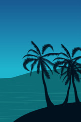 Tropical landscape. Summer background. Palm trees silhouette. Vector illustration