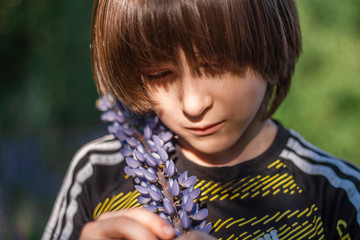 A boy with long hair standing among lupins in the rays of the sun.