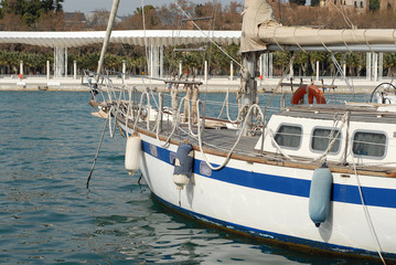 Old Sail Boat Malaga Spain port harbour marina historic classic vintage transport VIP
