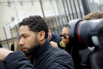 Jussie Smollett  exits Cook County Department of Corrections after posting bail in Chicago
