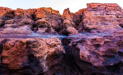 colored mountains and rocks of Rio Tinto, Andalusia, Spain