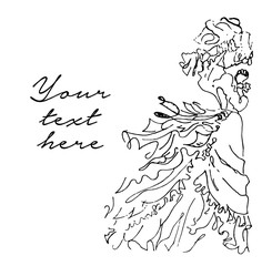 Vector hand drawn illustration of bride on white background.