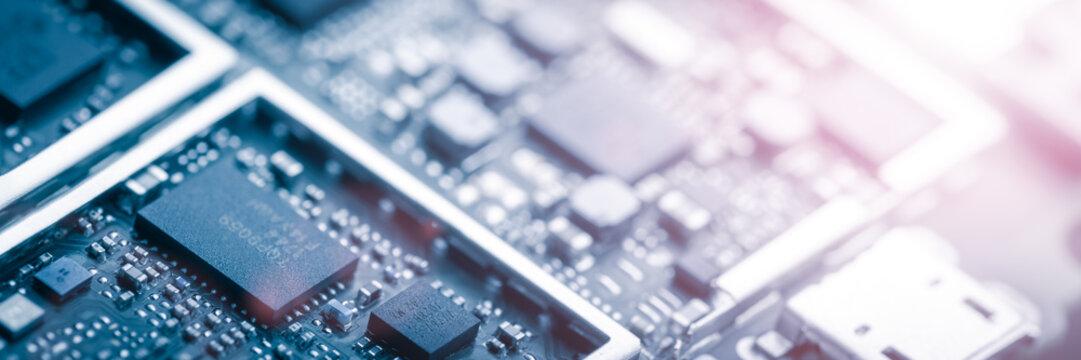 Modern Circuit Board Background Banner