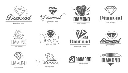 Vector illustration concept of diamond logo. Icon on white background