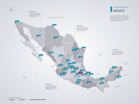 Mexico vector map with infographic elements, pointer marks.
