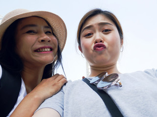 Close-up women selfie and traveling in the city.