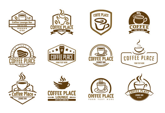 Vector illustration concept of coffee logo. Brown on beige background