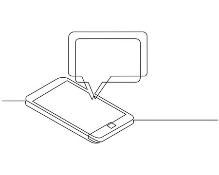 continuous line drawing of chat message on smartphone. Mobile phone chatting, people texting cellphone messages and sms messaging bubble text on phones screen, conversation flat illustration. vector