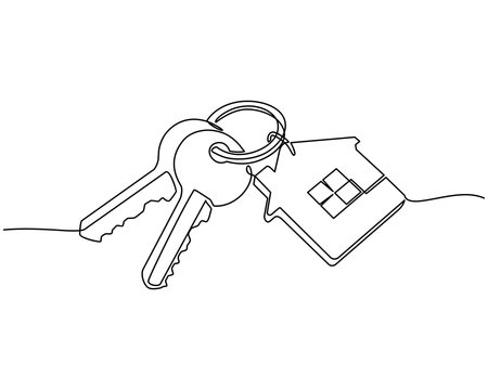continuous line drawing of House keys with house shaped keychain, Real estate concept, isolated on white background. vector