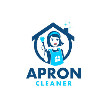 Apron Girl Home Cleaner Logo Design, its perfect for home service business