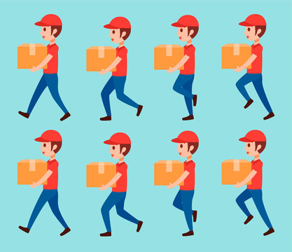animation delivery man walk. holding goods,product. flat vector illustration isolated.