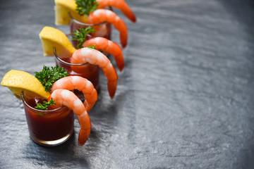 Glass shrimp cocktail in tomato sauce