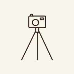 Camera on tripod line icon. Photo, photographer
