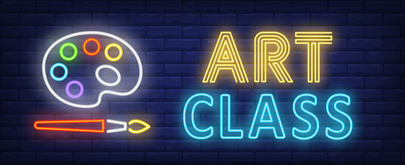 Art class neon text with palette and brush