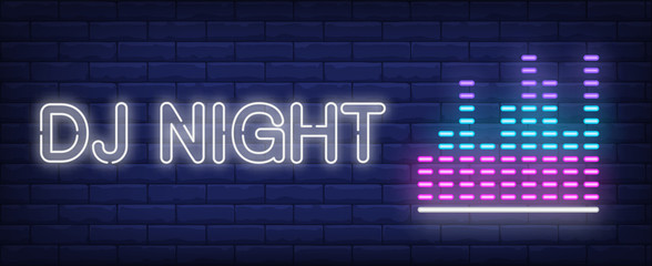 DJ night neon text with equalizer