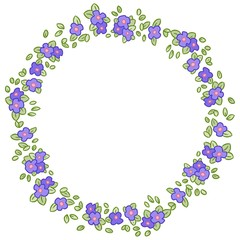 Vector round wreath with Pansy or Viola flowers and leaves