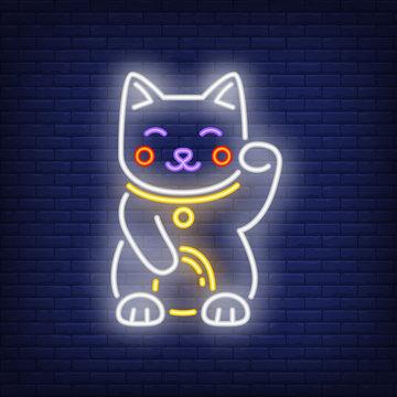 Maneki Neko cat neon sign