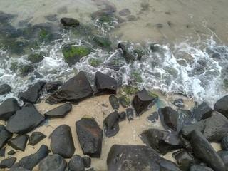 Stones in Sea Water, Jeddah Coastline, Saudi Arabia