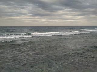 Sea Horizon And Cloudly, Jeddah Coastline, Saudi Arabia