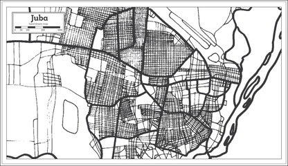 Juba South Sudan City Map in Retro Style. Outline Map.