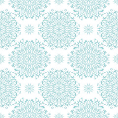 Geometric print in arabic style. Pale blue pattern on white seamless background