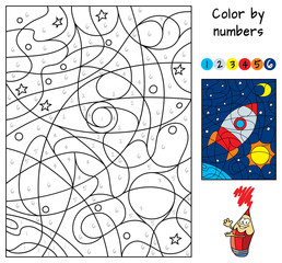 Space rocket. Color by numbers. Coloring book. Educational puzzle game for children. Cartoon vector illustration