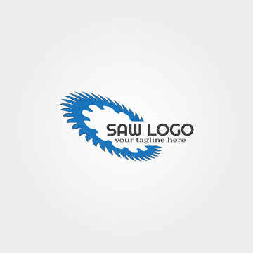 wood saw logo template, vector logo for business corporate, tools, construction, illustration.