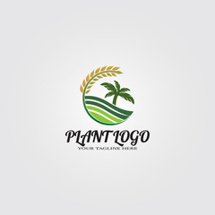 Farming logo template, vector logo for business corporate, nature, plant, tree, element, illustration.