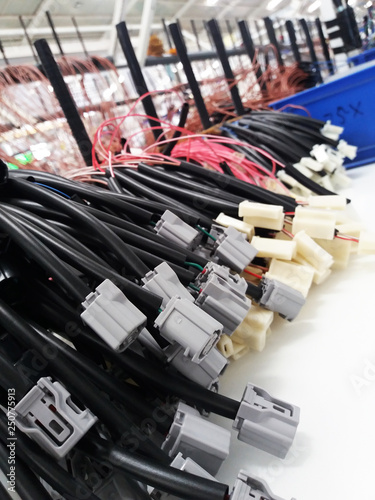 Colorful wire harness and plastic connectors for vehicles ... on