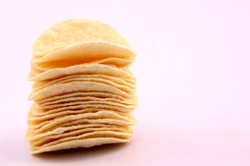 Potato chips and white background.