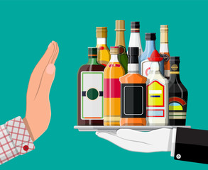 Alcohol abuse concept. Hand gives bottle of alcohol to other hand. Stop alcoholism. Rejection. Vector illustration in flat style.