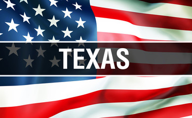 Texas state on a USA flag background, 3D rendering. United States of America flag waving in the wind. Proud American Flag Waving, US Texas state concept. US symbol and American Texas background