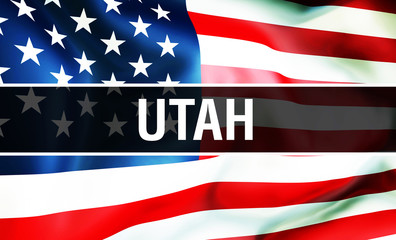 Utah state on a USA flag background, 3D rendering. United States of America flag waving in the wind. Proud American Flag Waving, US Utah state concept. US symbol and American Utah background
