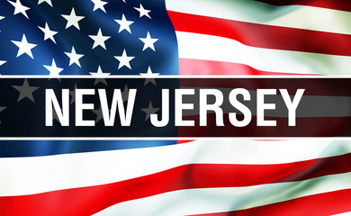 New Jersey state on a USA flag , 3D rendering. United States of America flag waving in the wind. Proud American Flag Waving, US New Jersey state concept. US symbol and American New Jersey background