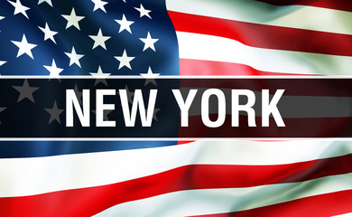 New York state on a USA flag background, 3D . United States of America flag waving in the wind. Proud American Flag Waving, US New York state concept. US symbol and American New York background