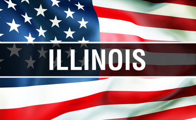 Illinois state on a USA flag background, 3D . United States of America flag waving in the wind. Proud American Flag Waving, US Illinois state concept. US symbol and American Illinois background