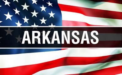 Arkansas state on a USA flag background, 3D . United States of America flag waving in the wind. Proud American Flag Waving, US Arkansas state concept. US symbol and American Arkansas background