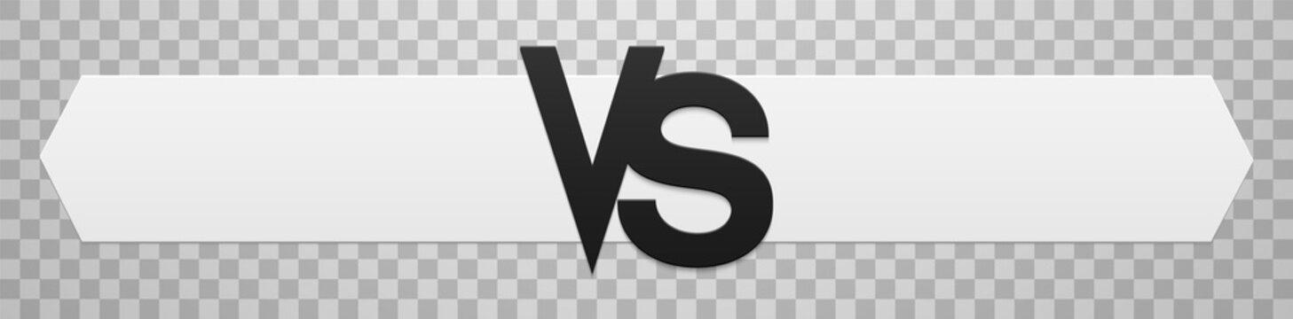 Versus - confrontation, white scoreboard with VS sign.