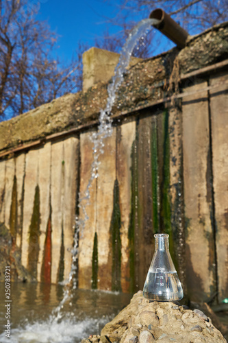 The image of a flask with clean drinking water against the