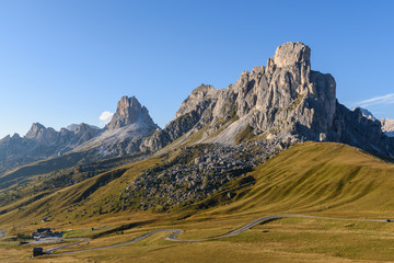 landscape scenic viewpoint of Passo di giau , famous travel location Dolomite Alps, Italy