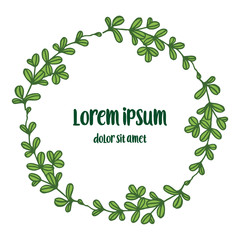 Vector illustration elegant green leaves flower frame with invitation lorem ipsum hand drawn